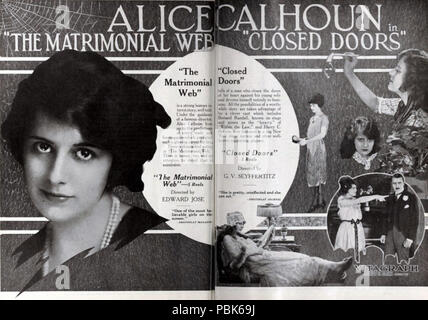 1006 Matrimonial Web (1921) & Closed Doors (1921) - Stock Photo