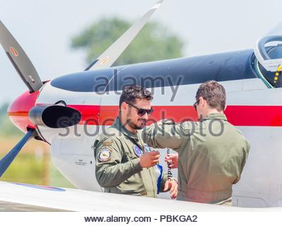 New markings pilots name applied on Croatian aerobatic group Krila oluje Wings of storm - Stock Photo