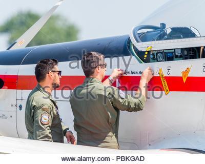 New markings pilots name applied on Croatian aerobatic group Krila oluje Wings of storm - Stock Photo