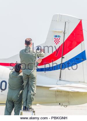 New markings port left-side only applied on Croatian aerobatic group Krila oluje Wings of storm position number - Stock Photo