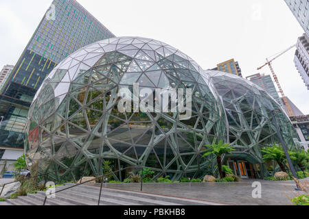 Seattle, Washington - June 30, 2018 : View of Amazon the Spheres at its Seattle headquarters and office tower in Seattle WA USA - Stock Photo