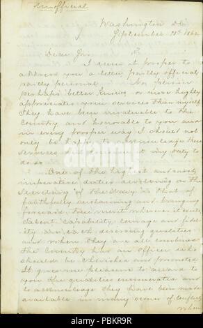 901 Letter from Gideon Welles, Washington, D. C., to Seth Ledyard Phelps, U. S. S. Benton, Cairo, Illinois, September 18, 1862 - Stock Photo