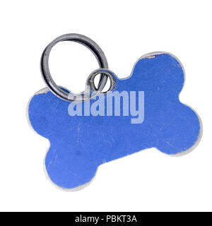 Old dog name tag in shape of bone, blue, isolated on white - Stock Photo