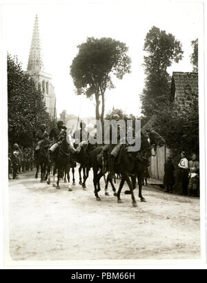 801 Indian cavalry marching through a French village Estrée Blanche (Photo 24-116) - Stock Photo