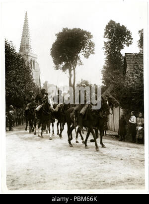 801 Indian cavalry marching through a French village Estrée Blanche (Photo 24-115) - Stock Photo