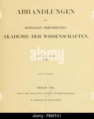 Abhandlungen_der_Königlich-Preussischen_Akademie_der_Wissenschaften_1902_Titel. - Stock Photo