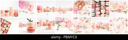 banner for website, Collage of macaroons - traditional french cookies, Collage of different gentle macaroons. - Stock Photo