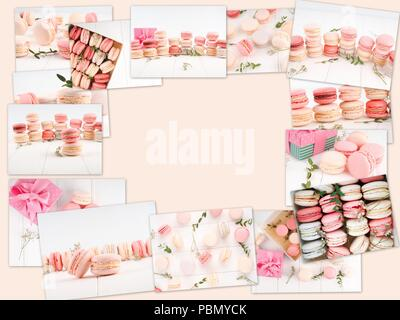 Collage of macaroons - traditional french cookies, Collage of different gentle macaroons. - Stock Photo