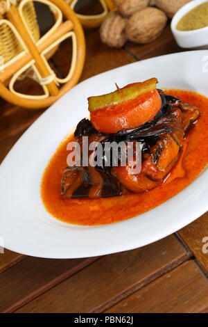 Meat balls wrapped in eggplant - islim kebab - Stock Photo