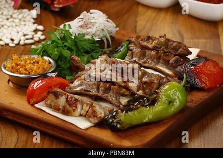 Organic Grilled Lamb Chops - Stock Photo