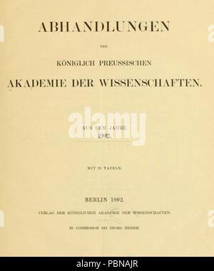 Abhandlungen der Königlich-Preussischen Akademie der Wissenschaften 1902 Titel. - Stock Photo