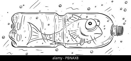 Cartoon of Fish Trapped in Plastic Bottle - Stock Photo