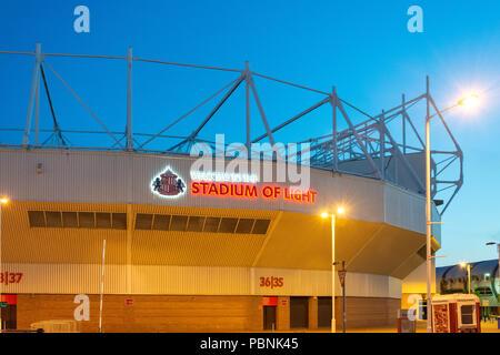 The Stadium of Light at dusk, Vaux Brewery Way, Sheepfolds, Sunderland, Tyne and Wear, England, United Kingdom - Stock Photo