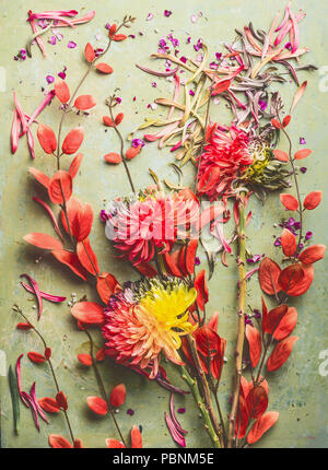 Autumn flowers and leaves flat lay composing, top view. Fall floral still life with chrysanthemums and red orange branches. - Stock Photo