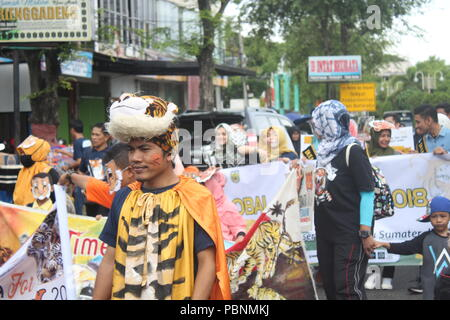 Banda Aceh, Indonesia. 09th Aug, 2015. The community of tiger lovers in Aceh commemorates Global Tiger Day. They are campaigning on the issue of Sumatran tiger conservation. Credit: Adli Dzil Ikram/Pacific Press/Alamy Live News - Stock Photo