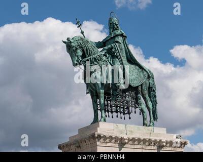 Hungary, Budapest, Fishermans bastion, King Stephen I - Stock Photo