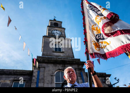 Langholm, Dumfries and Galloway, Scotland, UK. 28th July 2018. Langholm Common Riding climaxes each year on the last Friday of July after a series rid - Stock Photo
