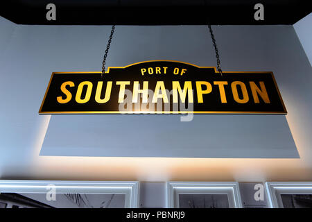 BELFAST, NI - JULY 14, 2016: Southampton port sign in the Titanic Belfast, visitor attraction dedicated to the RMS Tinanic, a ship whic sank by hittin - Stock Photo