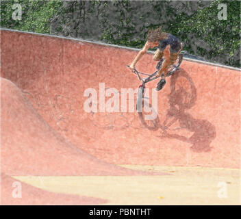Middle age adult performing bike tricks at BMX bike and Skateboard park - Stock Photo