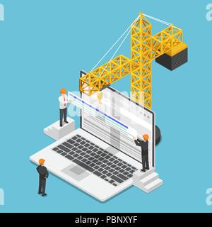 Flat 3d isometric businessman trying to increase website rank on search engine. SEO Search Engine Optimization and web traffic improvement concept. - Stock Photo