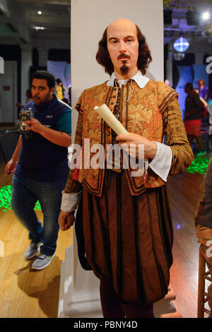 LONDON, ENGLAND - JULY 22, 2016: William Shakespeare, Madame Tussauds wax museum. It is a major tourist attraction in London - Stock Photo