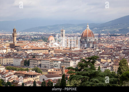A view of Florence taken from the vantage point of San Miniato al Monte and focusing on: the historical centre, - Stock Photo