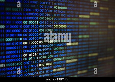 blue binary code. blocks of binary data. Blockchain concept. blue background with computer digital binary code bit number one and zero text. - Stock Photo