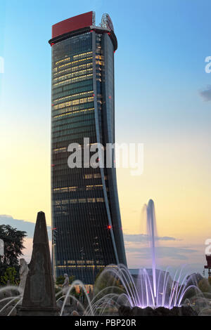 Milan, Italy - April 29th, 2018: Hadid Tower by Zaha Hadid Architects, in Milan, Italy's modern CityLife District - Stock Photo