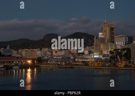 Port Louis waterfront at dusk Mauritius - Stock Photo