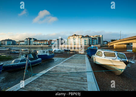 Boats on river Adur in Shoreham-by-Sea, West Sussex, England. - Stock Photo