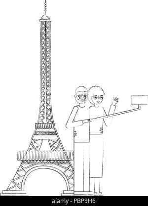 cute grandparents with eiffel tower and pole selfie vector