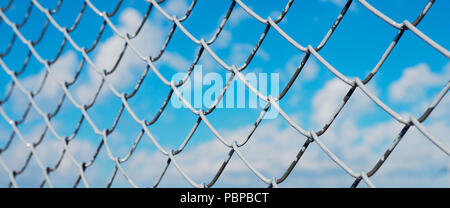 A fence made of wire mesh, netting covered with white on the background of blue sky and sunshine - Stock Photo