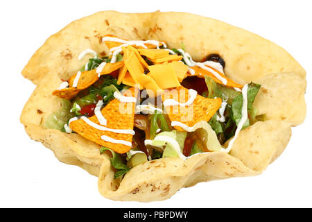 Taco salad in a baked tortilla - Stock Photo