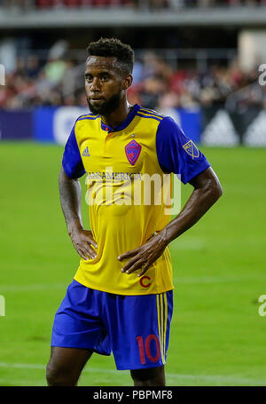 Washington DC, USA. 28th July, 2018. Colorado Rapids Midfielder #10 Kellyn Acosta during a MLS soccer match between D.C. United and the Colorado Rapids at Audi Field in Washington DC. Justin Cooper/CSM/Alamy Live News - Stock Photo