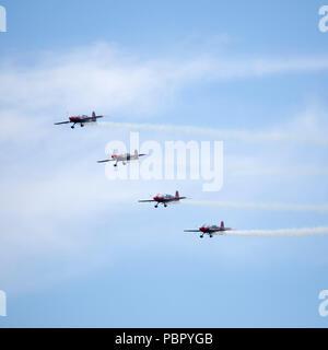 Sunderland, UK, 28 July 2018. The Blades aerobatic team perform at the 2018 Sunderland International Airshow in Sunderland, England. The Blades are the  only full-time, civilian aerobatics team based in the United Kingdom. Credit: Stuart Forster/Alamy Live News - Stock Photo