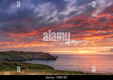 Tintagel and Boscastle. 29th July 2018. UK Weather - After rain and strong winds, the weather improves throughout the day and North Cornish coast enjoys a spectacular sunset on the coastal path between Tintagel and Boscastle. Credit: Terry Mathews/Alamy Live News - Stock Photo