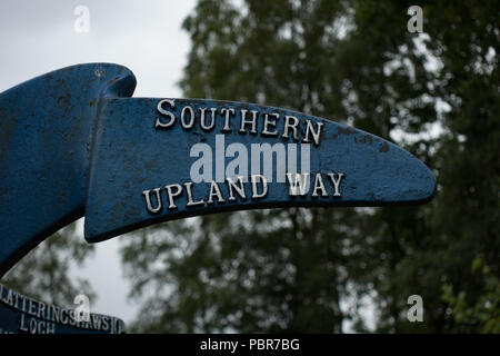 Southern Upland Way long distance footpath sign post. Dumfries and Galloway. Scotland - Stock Photo