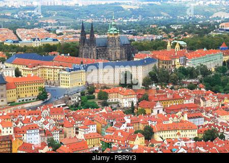 Panaoramic view of Prague castle from Petrin hill in Prague (Praha), Czech Republic - Stock Photo