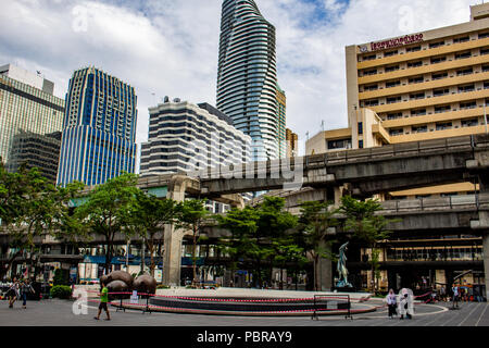 Bangkok, Thailand - May 1, 2018: Skyline of Bangkok viewed from a square in the Siam district - Stock Photo