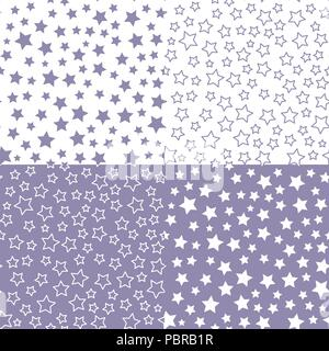 Set Vector star seamless pattern. Blue color palette. Textile Design for baby shower - Stock Photo