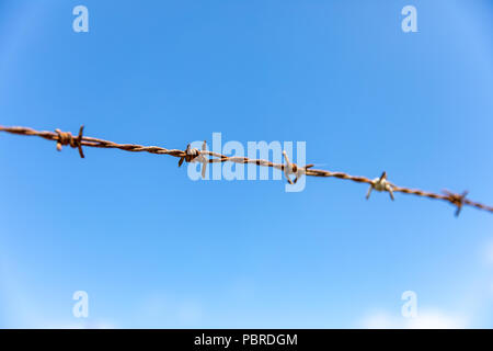 Rusty barbed wire against blue sky; Okinawa, Japan - Stock Photo