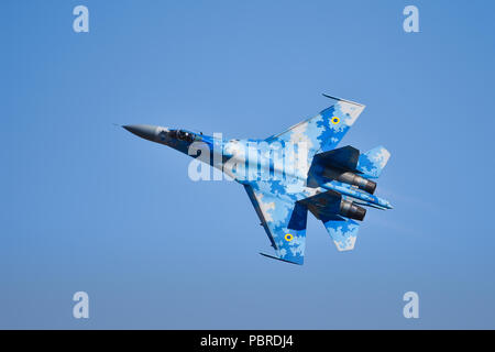 Ukrainian Airforce Sukhoi SU-27 Flanker RIAT Fairford 2018 - Stock Photo