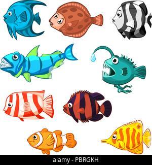 Set of vector cartoon fishes clown,flounder, goldfish - Stock Photo