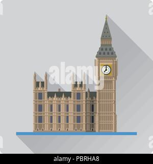Flat design long shadow vector illustration  of Big Ben, the Elizabeth Tower at Westminster Palace, London, England - Stock Photo