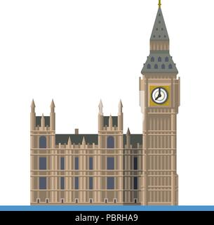 Flat design isolated vector icon of Big Ben, the Elizabeth Tower at Westminster Palace, London, England - Stock Photo