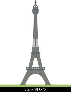 Flat design isolated vector icon of the Eiffel tower at Paris, France - Stock Photo