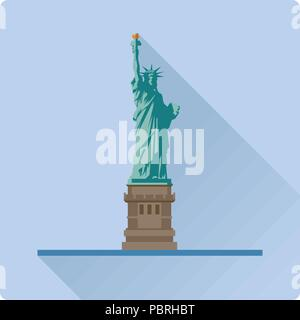 Flat design long shadow vector illustration of the Statue of Liberty at New York City, United States of America - Stock Photo