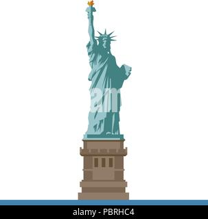 Flat design isolated vector icon of the Statue of Liberty on Ellis Island, New York, United States of America - Stock Photo