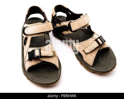 A pair of comfortable used unisex suede leather summer hiking sandals isolated cut out on a white background from above. UK - Stock Photo