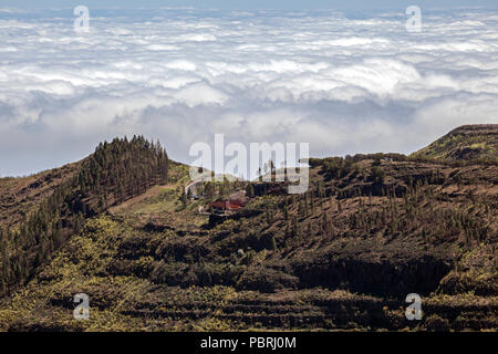View from Roque Nublo on the Degollada de la Becerra and the sea of clouds over the north of Gran Canaria, Gran Canaria - Stock Photo